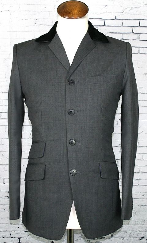 """Arnold""  Grey Fabric  Four Button With Velvet Collar"